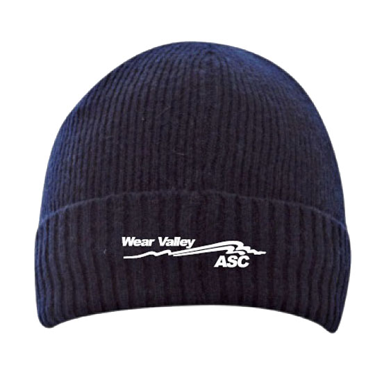 Navy beanie turn up hats with logo embroidered centre front
