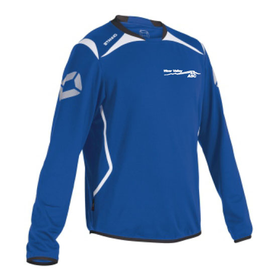 Stanno Forza crew neck top with left breast logo embroidered royal/white